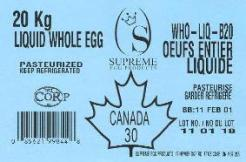 Liquid whole egg 20 kg